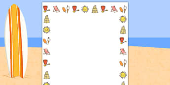 Seaside Page Border Images - seaside, sea, cost, holiday, beach, page border, border, writing template, writing aid, writing