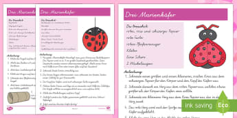 Drei Marienkäfer Papiermodell - Valentinstag, Vorschule und Kindergarten, 1./2. Klasse, Bastelaktivitäten und Ideen,Kunsterziehung,