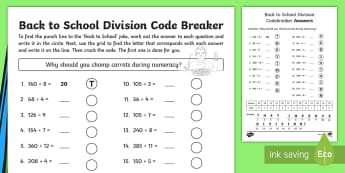 Back to School Joke Division Code Breaker Worksheet / Activity Sheet - Numeracy, September, Puzzle, Problem Solving, New Term