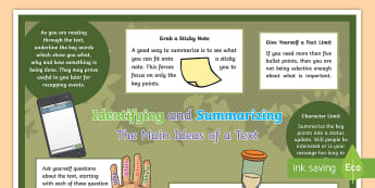 Identifying and Summarizing the Main Ideas of a Text Display Poster - reading, identify, summarize, display, poster