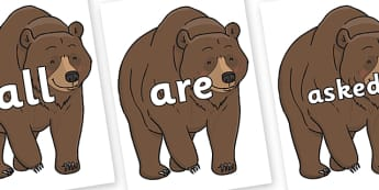 Tricky Words on Bear - Tricky words, DfES Letters and Sounds, Letters and sounds, display, words