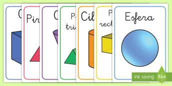 Pósters DIN A4: Las figuras 3D - figuras 3D, cuerpos geométricos, mates, matemáticas, geometría, aristas, vértices, caras, póste