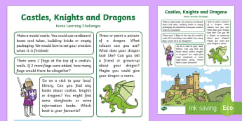 Castles, Knights and Dragons Home Learning Challenges Nursery FS1 - EYFS, Early Years, Homework, Fantasy Creatures, Castle.