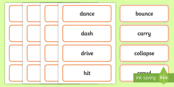Movement Verbs Word Cards - teaching verbs, deaf, deaf education, teacher of the deaf, verb vocab, verb visuals, verb display