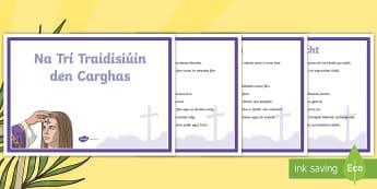 Postaer Taispeána A4: Na Trí Traidisiúin den Carghas - Lent, Carghas, posters, pastaer, Almsóireacht, urnaí, troscadh, fasting, almsgiving prayer, Irish