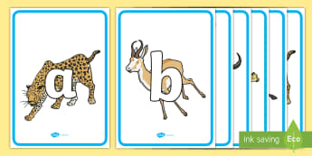 Safari Animals A-Z Alphabet Display Poster  - A-Z Alphabet on Ostriches - A-Z, A4, display, Alphabet frieze, Display letters, Letter posters, A-Z