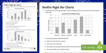 Bonfire Night Bar Charts Activity Sheet - Guy Fawkes, bar charts, data, mode, averages, mean, median, worksheet, rockets, fireworks, data