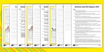 Rio Olympics 2016 Differentiated Reading Comprehension Activity New Zealand - new zealand, Olympic Games 2016, KS1, olympics, Rio, Brazil, reading comprehension, questions