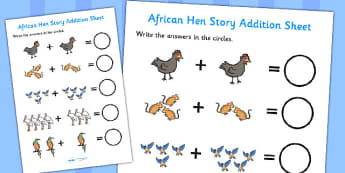 Story Addition Sheet to Support Teaching on Handa's Hen - adding, worksheets, maths