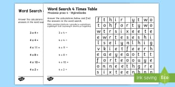 Multiplication 4 Times Tables Word Search Activity Sheet English/Polish - Multiplication 4 Times Tables Wordsearch Worksheet - multiplication, 4 times tables, wordsearch, wor