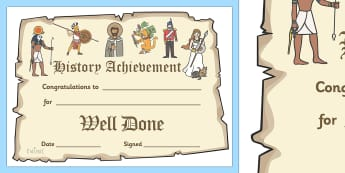 History Achievement Certificate - history display banner, history, past, old, certificates, award, well done, reward, medal, rewards, school, general, certificate, achievement, subject, World War, Victorians, Vikings, queens, kings