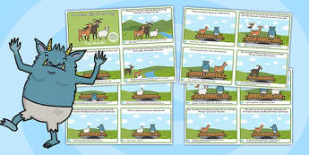 The Three Billy Goats Gruff Story Sequencing 4 Per A4 Polish Translation - polish