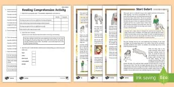 Stori Gelert  A  Welsh Legend Differentiated Reading Comprehension Activity - Stori Gelert, Gelert, chwedl, Cymru, Tywysog, Llywelyn, ci, baban, castell, Cymru, Eryri, Gogledd Cy