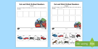 Transport Themed Ordinal Numbers Cut and Stick Activity - Goldilocks Themed Cut and Stick Number Ordering Sheets - fairy tale, traditional tale themed, cut, s