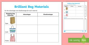 Bag Materials Activity Sheet - worksheet, ACSSU074, shopping bag, paper bag, plastic bag, properties, Australia, cloth bag