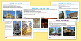 Comparing Buildings in Australia Now and Then  Activity Pack - Australia YR 3 and 4 Design Technology, constructed environments, building design, building technolo