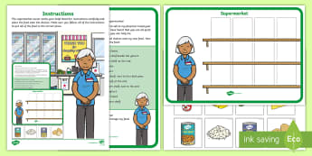 Supermarket Positions Problem Resource Pack - EYFS, Early Years, Children Use Everyday Language to Talk About Position and to Solve Problems, ELG,