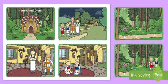 Hansel and Gretel Story Visual Aids (4 per A4) - Hansel and Gretel, sequencing, Brothers Grimm, witch, Hansel, Gretel, gingerbread house, fairytale, traditional tale, woodcutter, forest, story, story sequencing, story resources,