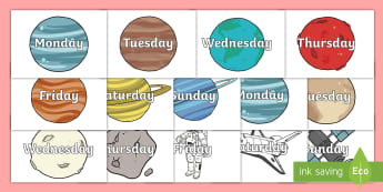 Days of the Week on Space Images - Space, Weeks poster, Months display, display, poster, frieze, Days of the week, moon, sun, earth, mars, ship, rocket, alien, launch, stars, planet, planets
