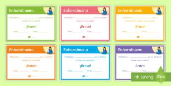 End-of-Year Oral Work Award Certificates - Spanish - Diploma, award, prize, end, term, reward, spanish, ks3
