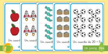 Pósters: Los cuartos - entre cuatro, división, dividir, decoración, mural, matemáticas, mates,Spanish