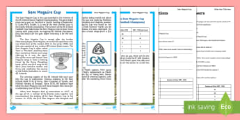 GAA's Sam Maguire Reading Comprehension Activity - ROI, GAA, Reading, Comprehension, sam Maguire, All Ireland, Football, Final 2017, reading Exercise
