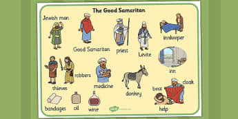 The Good Samaritan Word Mat - the good samaritan, samaritan, help, helping, word mat, writing aid, mat, jewish, thieves, bible story, Jesus, priest, Levite, kind, good samartian