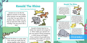 EYFS Ronald the Rhino Home Learning Challenges Nursery FS1 - Ronald the Rhino, Twinkl story book, animals, jungle, endangered, africa, homework, home learning, p