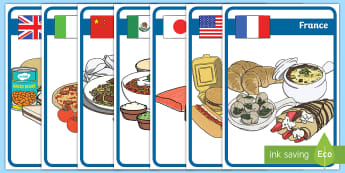 Posters d'affichage : La nourriture à travers le monde - alimentation, régime, nutrition, pays, cycle 2,French