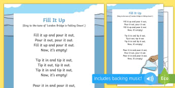 Fill It Up Song - opposites, toddler, early learning. capacity, singing time, action rhymes, nursery rhymes