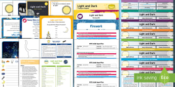 EYFS Light and Dark Bumper Planning and Resource Pack for 2-5 Year Olds - light, dark, bright, shadows, night, day, moon, sun, stars, adult led, continuous provision,  torch,