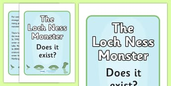 Loch Ness Monster Fact or Fiction Display Posters - Loch Ness, monster, Scotland, does it exist, fact or fiction, display, posters, sign, banner