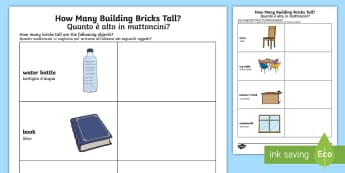 How Many Building Bricks Tall? Worksheet / Activity Sheet English/Italian - How Many Legos Tall Worksheet - counting, measure, height, toys, countng, couting, meausre, mearsure