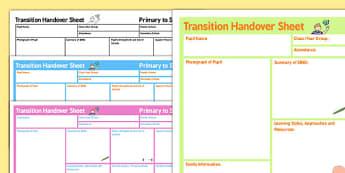 SEN Transition Handover Sheet Primary to Secondary - transition