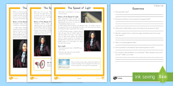 The Speed of Light Differentiated Reading Comprehension Activity - Galileo, Aristotle, Roemer, Light, Energy, forces, reflection, planets, sun