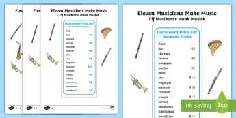 Eleven Musicians Making Music Activity Sheet English/Afrikaans - Numbers, money, calculations, numeracy, nommers, geld, EAL