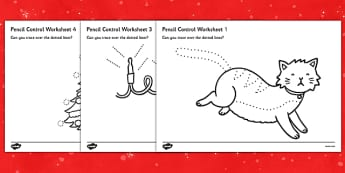 Christmas Cat Themed Pencil Control Worksheets - christmas cat, mog, pencil control