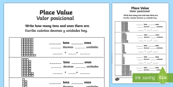 Place Value Activity Sheet English/Spanish - Worksheet, number, numeracy, tens and units, KS2, EAL, translation