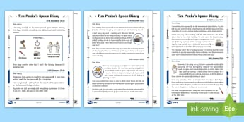 KS1 Tim Peake's Space Diary Differentiated Reading Comprehension Activity - Astronaut Information, Space Information, Space travel, spacecraft, Spacecraft Diary, Day in the lif