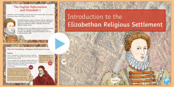 Elizabethan Religious Settlement PowerPoint - Elizabethan Religious Settlement, Protestant, Catholics, Anglicans, compromise, religion, religious,