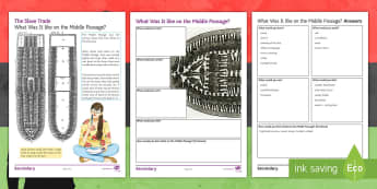 What happened on the Middle Passage? Activity Sheet - slavery, trade, olaudah equiano, slave trade, east india company, human traffic, black history month