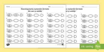 Descompunerea în zeci și unități Fișă de lucru - zeci, unități, română, matematică, descompunerea numerelor, fișe, zeci și unități, fișe, n