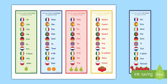 One Number in 10 Different Languages Bookmarks-French