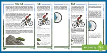 KS2 Mike Hall Differentiated Fact File - Mike Hall, cycle, cyclist, bike, bicycle, race, racing, adventure, adventurer, helmet, safety, Ultra