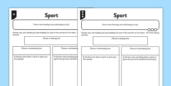 Headings and Sub Headings Sport Activity Sheet Pack - GPS, non chronological, report, non-fiction, title, worksheet