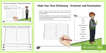 Make your own dictionary - Grammar and Punctuation Activity Sheet - CfE Literacy, reading, comprehension, strategies, dictionary, grammar, punctuation,Scottish, workshe