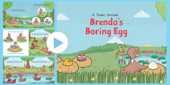 Brenda's Boring Egg Story PowerPoint - eggs, duck, ducks, ducklings, ugly duckling, appearance, beauty, hatch, love, grow, birds, lake, pon