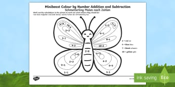 Minibeast Colour by Number Addition and Subtraction Up to 10 English/German - plus, minus, maths, EAL, German, English-German,,German-translation