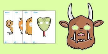 The Gruffalo Role Play Masks - The Gruffalo, resources, mouse, fox, owl, snake, Gruffalo, fantasy, rhyme, story, story book, story book resources, story sequencing, story resources, role play mask, role play,