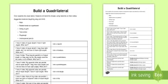 Build a Quadrilateral Activity - quadrilateral, square, rectangle, rhombus, trapezoid, kite, paralellogram, shapes, geometry, common